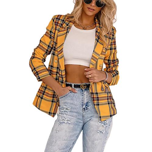 Yellow Plaid Print Casual Blazer Top TQK260046-7