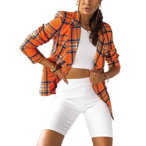 Orange Plaid Print Casual Blazer Top TQK260046-14