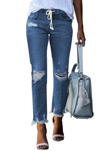 Dark Blue Elastic Waist Straight Leg Destroyed Raw Hem Jeans LC782148-5