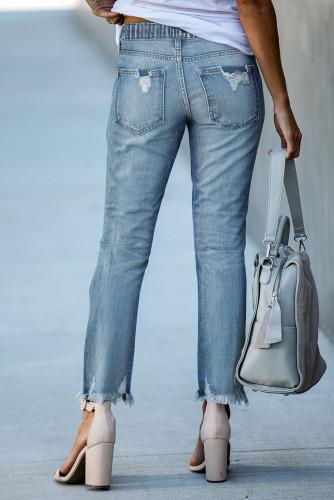 Light Blue Elastic Waist Straight Leg Destroyed Raw Hem Jeans LC782148-4