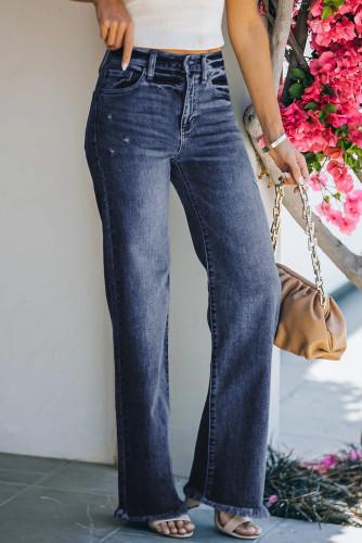 Blue Raw Hem Straight Leg Jeans LC782155-5