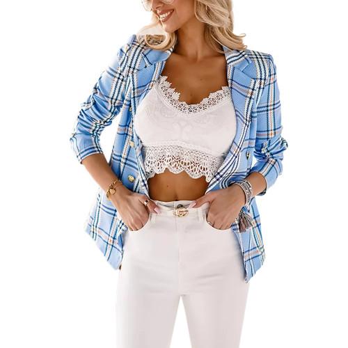 Light Blue Plaid Print Casual Blazer Top TQK260046-30