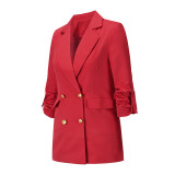 Solid Red Double Breasted Loose Midi Blazer TQK260047-3