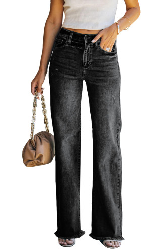 Black Raw Hem Straight Leg Jeans LC782155-2