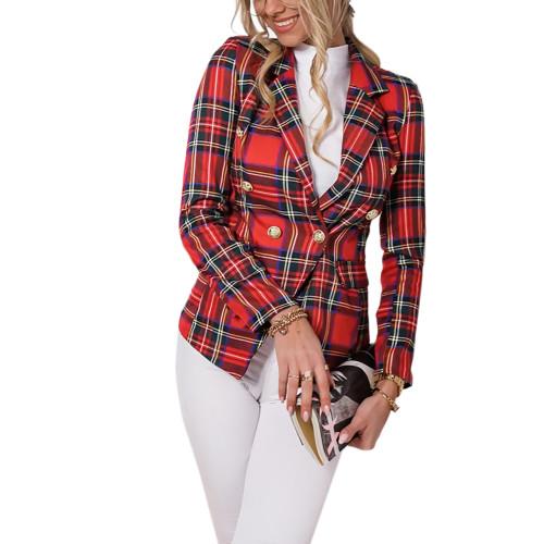 Red Plaid Print Casual Blazer Top TQK260046-3