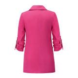 Solid Rosy Double Breasted Loose Midi Blazer TQK260047-6