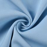 Solid Light Blue Double Breasted Loose Midi Blazer TQK260047-30