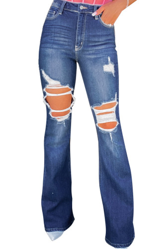 Blue Mid Waist Distressed Flared Jeans LC783025-5