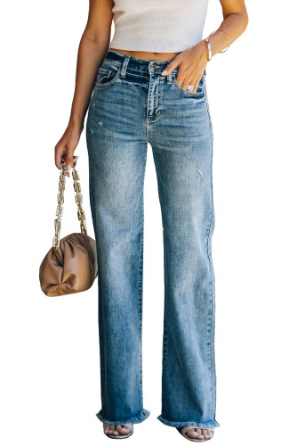 Sky Blue Raw Hem Straight Leg Jeans LC782155-4