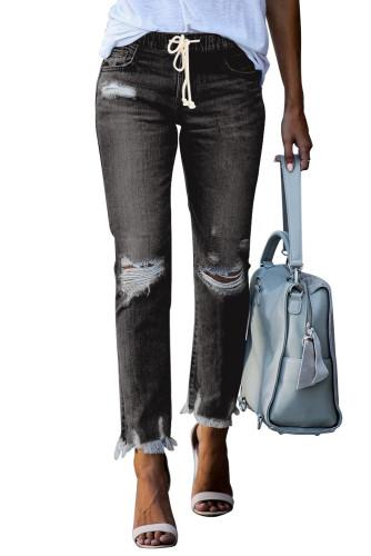 Black Elastic Waist Straight Leg Destroyed Raw Hem Jeans LC782148-2