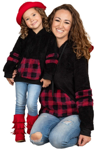 Mommy and Me Buffalo Plaid Hoodie Sweater TZ25539-2