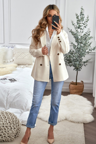 Apricot Turn-Down Collar Buttons Blazer with Pockets LC852183-18