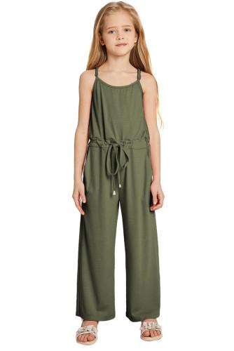 Green Spaghetti Strap Wide Leg Girls Jumpsuit TZ64013-9