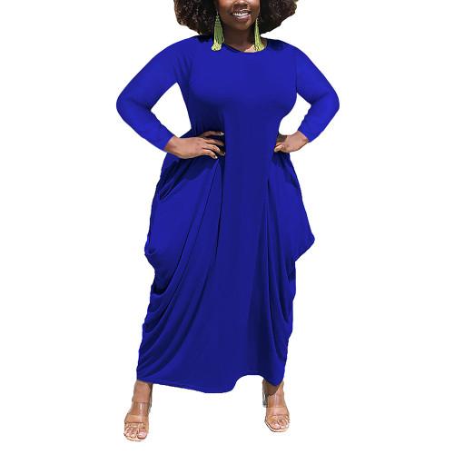 Solid Blue Irregular Hem Plus Size Dress TQK310664-5