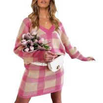 Rosy Plaid Print Long Sleeve Sweater Skirt Set TQK710396-6