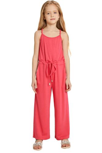 Red Spaghetti Strap Wide Leg Girls Jumpsuit TZ64013-3