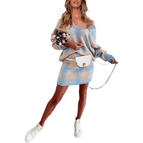 Blue Plaid Print Long Sleeve Sweater Skirt Set TQK710396-5