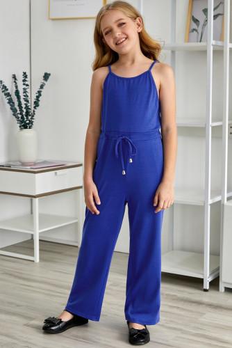 Blue Spaghetti Strap Wide Leg Girls Jumpsuit TZ64013-5
