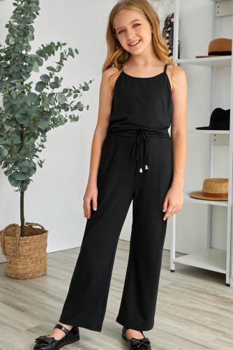 Black Spaghetti Strap Wide Leg Girls Jumpsuit TZ64013-2