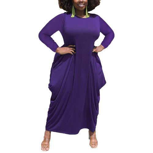 Solid Purple Irregular Hem Plus Size Dress TQK310664-8