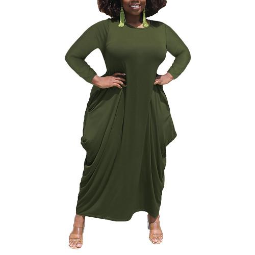 Solid Army Green Irregular Hem Plus Size Dress TQK310664-27