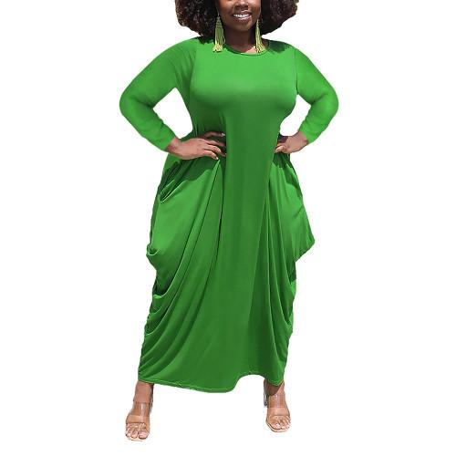 Solid Green Irregular Hem Plus Size Dress TQK310664-9