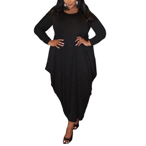 Solid Black Irregular Hem Plus Size Dress TQK310664-2