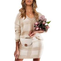 Khaki Plaid Print Long Sleeve Sweater Skirt Set TQK710396-21