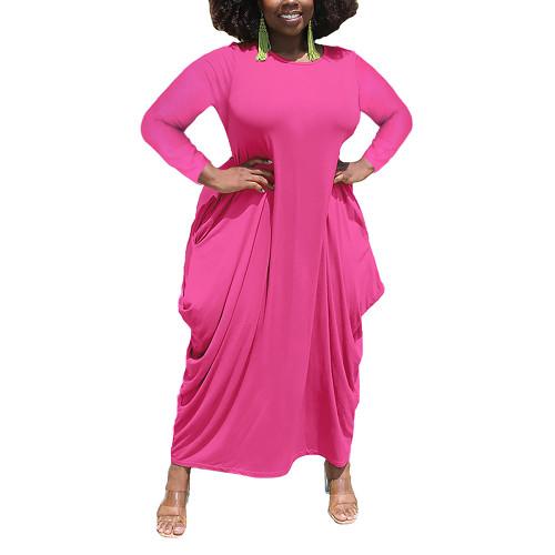 Solid Rosy Irregular Hem Plus Size Dress TQK310664-6