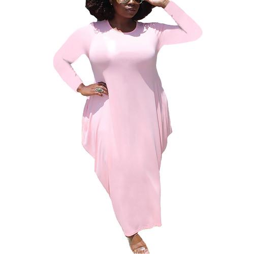 Solid Light Pink Irregular Hem Plus Size Dress TQK310664-39