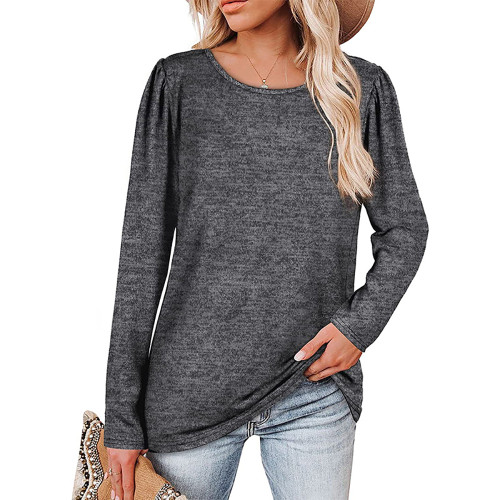 Solid Dark Gray Cotton Blend Pleated Long Sleeve Tops TQK210824-26