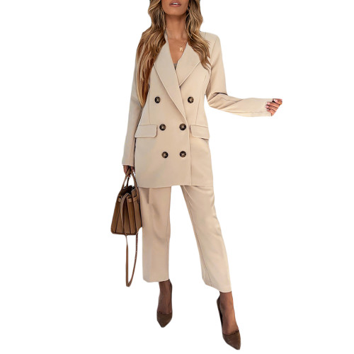 Apricot Lapel Collar Double Breasted Blazer with Pant Set TQK710398-18