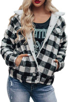 Black Plaid Print Fleece Button Jacket LC8511543-2