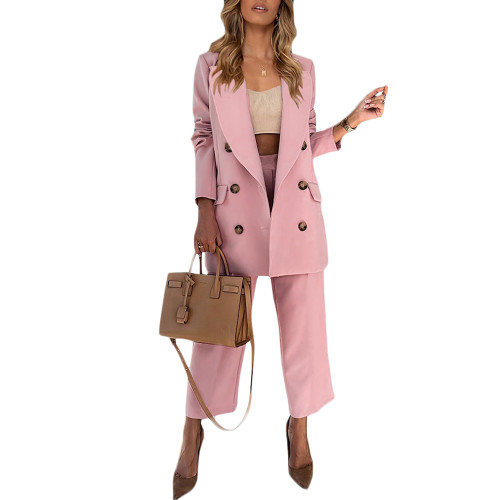 Pink Lapel Collar Double Breasted Blazer with Pant Set TQK710398-10