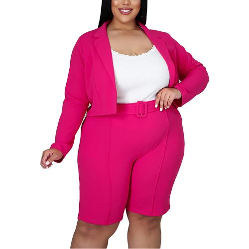 Solid Rosy Turndown Collar Blazer with Shorts Plus Size Set TQK710400-6