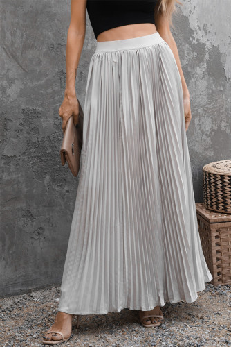 White High Waisted Pleated Maxi Skirt LC65653-1