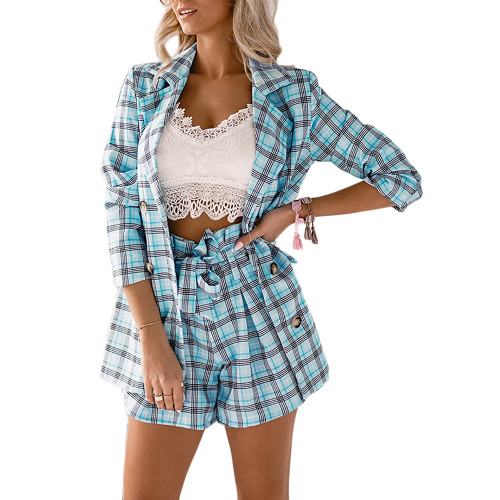 Light Blue Plaid Print Double Breasted Blazer with Shorts Set TQK710397-30
