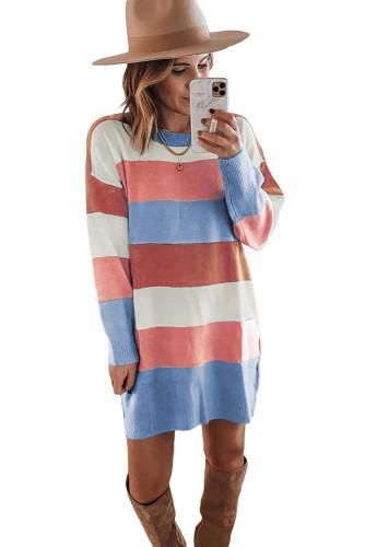 Rainbow Colorblock Long Sleeve Sweater Dress LC273139-22