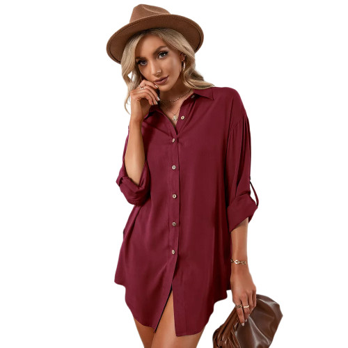 Wine Red Double Breasted Long Sleeve Blouse TQK220075-23