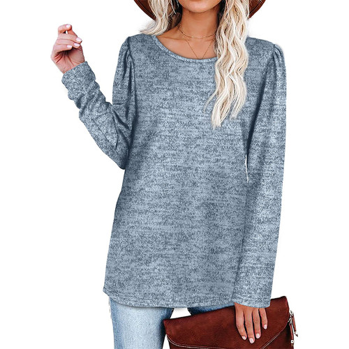 Solid Light Blue Cotton Blend Pleated Long Sleeve Tops TQK210824-30