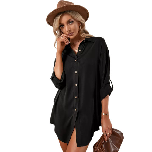 Black Double Breasted Long Sleeve Blouse TQK220075-2