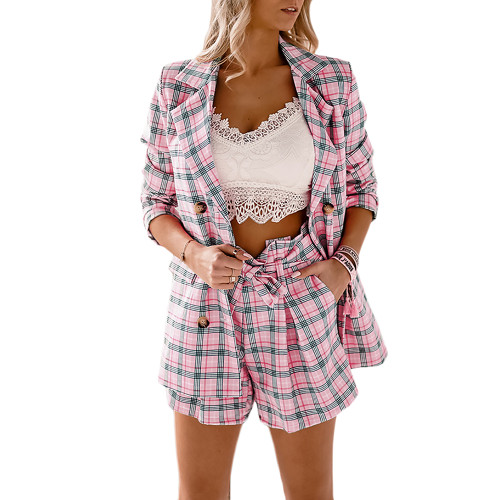 Pink Plaid Print Double Breasted Blazer with Shorts Set TQK710397-10