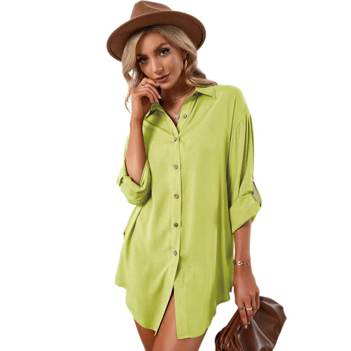 Fluorescent Green Double Breasted Long Sleeve Blouse TQK220075-57