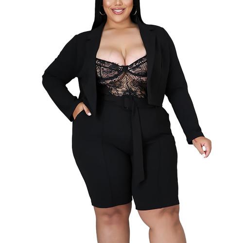 Solid Black Turndown Collar Blazer with Shorts Plus Size Set TQK710400-2