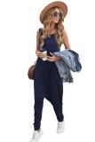 Blue Sleeveless Pocketed Harem Jumpsuit LC642141-5