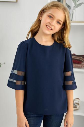 Dark Blue Girl's 3/4 Bell Sleeve Mesh Panel Blouse TZ25081-5
