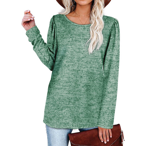 Solid Green Cotton Blend Pleated Long Sleeve Tops TQK210824-9