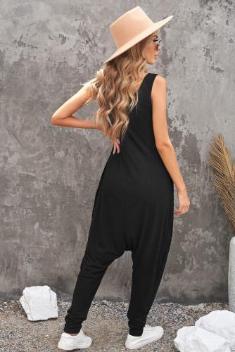 Black Sleeveless Pocketed Harem Jumpsuit LC642141-2