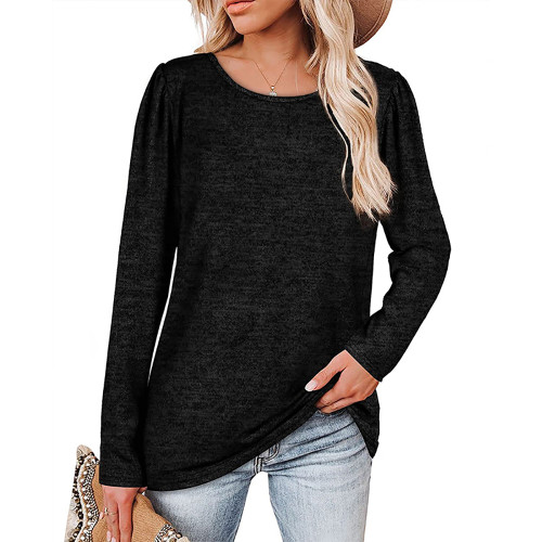 Solid Black Cotton Blend Pleated Long Sleeve Tops TQK210824-2