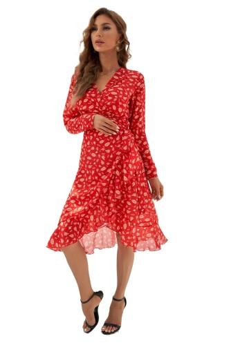 Red Long Sleeve Surplice V Neck Printed Midi Dress with Sash LC229735-3